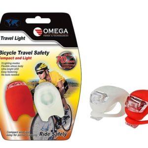 סט פנסים לבן + אדום לרוכבי אופניים