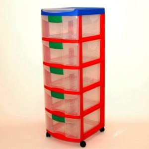 מגירות פלסטיק 5 קומות כתר אדום