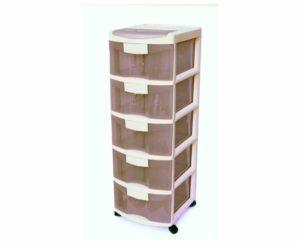 מגירות פלסטיק 5 קומות כתר קרם פרגמון