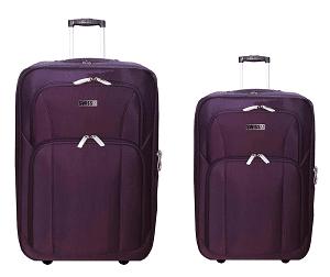 """סט 2 מזוודות מבד 24""""+28"""" סגול"""