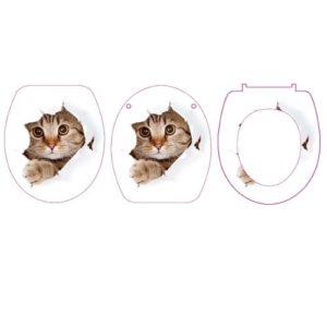 מושב אסלה הידראולי מודפס חתול מציץ