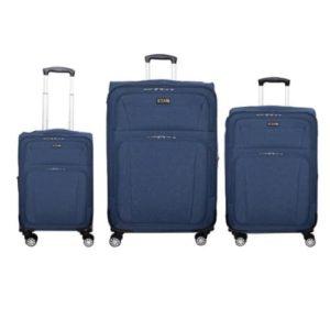 שלישיית מזוודות בד 20+24+28 SWISS כחול