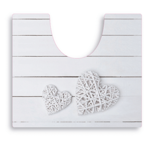 שטיח שירותים דגם לב לבן SPLASH