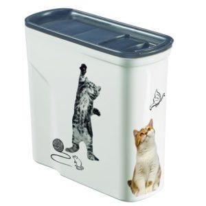 קופסאת אחסון מזון יבש לחיות מחמד - 2 חתולים