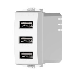 מטען USB כולל 3 יציאות 5V 3.1A לבן 1 מודול ניסקו סוויץ'