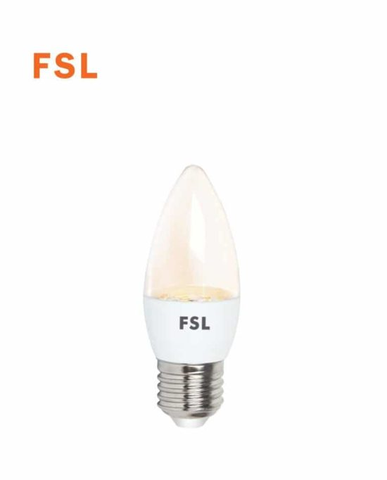 לד נר שקוף 5W C35 לבן חם FSL E27