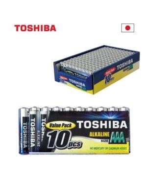AAA LR03 TOSHIBA אלקליין אריזת  10 יחידות במגש