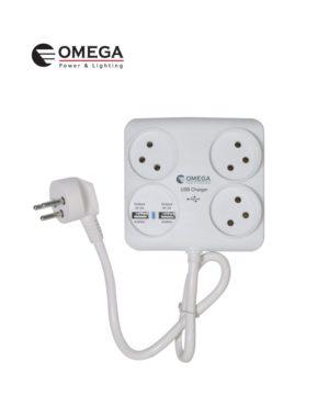 מפצל USBX2 T4  מרובע 0.3 מטר כבל  מאריך  OMEGA