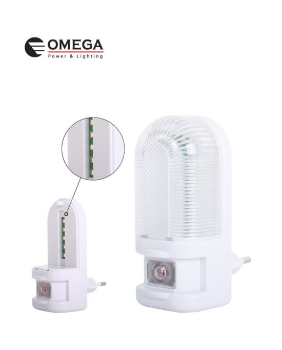 מנורת לילה שקופה 5 לדים - חיישן אור לבן עם מפסק
