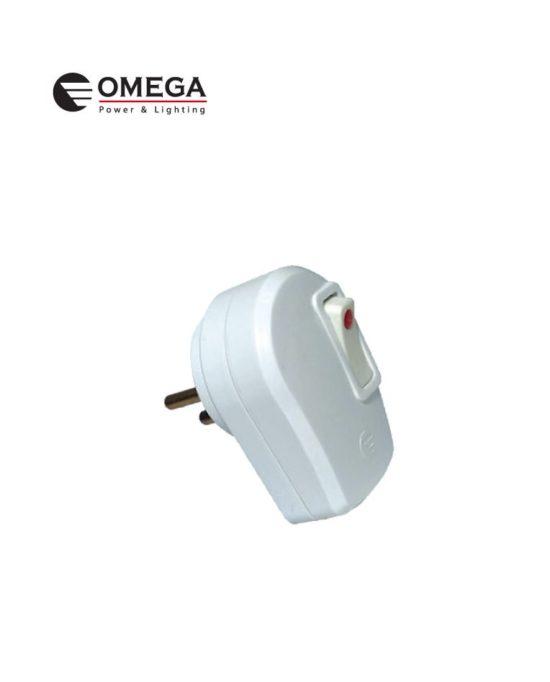 תקע כוח תלת פיני כולל מתג OMEGA בבליסטר
