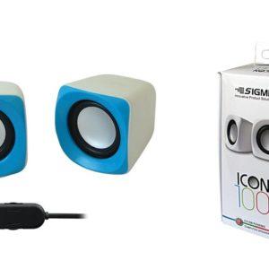 סט רמקולים USB למחשב  ICON 100 , צבע לבן+כחול