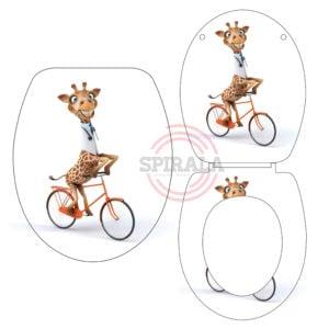 מושב אסלה טריקה שקטה בדוגמת ג'ירפה אופניים 0410