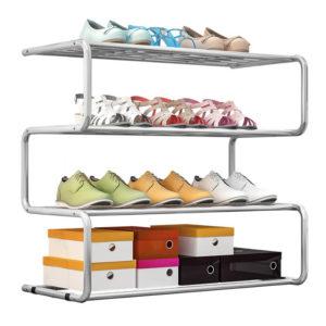 מעמד לנעליים 4 שלבים בצבע כרום