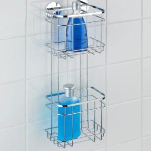 מתלה 2 קומות לבקבוקי שמפו וסבון בהדבקה מיוחדת אל חלד