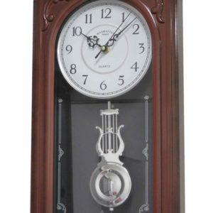 שעון קיר מטוטלת דמוי עץ