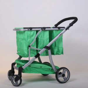 עגלת קניות מתקפלת 4 גלגלים גרין קארט כולל 3 סלים בצבע ירוק ושלדה כסופה