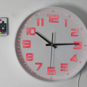 שעון קיר ספרות מאירות, 7 צבעים + שלט