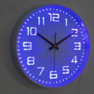 שעון קיר ספרות מאירות בתאורת לד