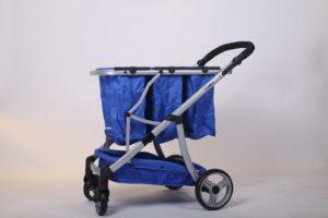 עגלת קניות מתקפלת 4 גלגלים גרין קארט כולל 3 סלים בצבע כחול ושלדה כסופה