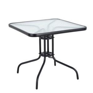 שולחן זכוכית מרובע 80*80 מסגרת שחורה