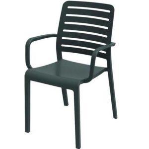 כסא שארלוט קנטרי עם ידיות - אפור