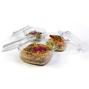 סט 3 סירי זכוכית מרובעים - 1 ליטר \ 1.5 ליטר \ 2.5 ליטר OVEN TO TABLE מבית Food appeal