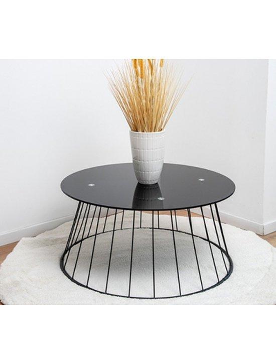 שולחן מעוצב לסלון זכוכית שחורה F10079 38/80/80