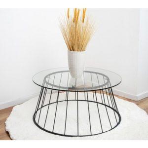 שולחן מעוצב לסלון זכוכית שקופה F10079 38/80/80