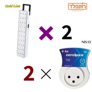 באנדל -מגן נחשולי NISKO מתח כולל השהייה 3.5 דקות- 2 יח' + 2 יח' תאורת חירום GoldLine ATL193