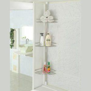 מעמד 3 מדפים פינתייםלאמבטיהלהתקנה ביןהרצפה לתקרההחוסך במקום באמבטיה!