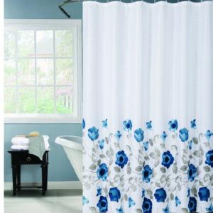 וילון אמבטיה 120*180 פרחים כחולים