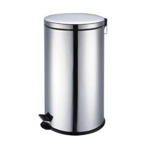 פח אשפה סגירה שקטה עגול 40 ליטר ניקל מוברש