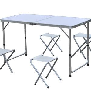 מערכת ישיבה אלומיניום עם כסאות בד