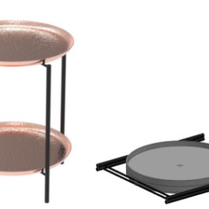 שולחן במראה נחושתי כפול -ברזל