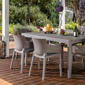 סט שולחן ו-6 כסאות אירוח אליגנט - ELEGANT - קפוצ'ינו