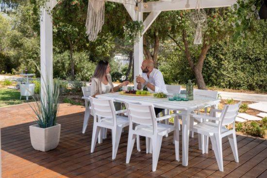 סט שולחן ו-6 כסאות אירוח ווידנג - WEDDING - לבן, מבית KETER